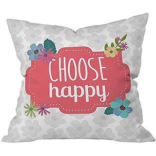 DENY Designs Lara Kulpa Choose Happy Throw Pillow, 18 x 18