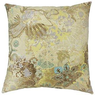 The Pillow Collection P18-WAV-270023-WINDFLOWERC-clstl-C100 Feleti Floral Pillow, Celestial
