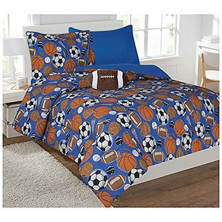 Fancy Collection 6pc Kids/teens Sport Design Luxury Bed-in-a-bag Comforter 6pcs Set- Furry Buddy Included - Twin Size