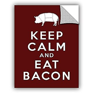 ArtWall Art D Signer Kccos Keep Calm and Eat Bacon Appeelz Removable Graphic Wall Art, 14 by 18