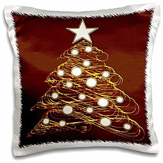 3dRose pc_41772_1 Cute metallic Christmas tree with colored baubles on metallic background-Pillow Case, 16 by 16