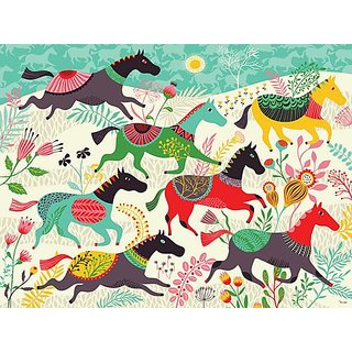 Oopsy Daisy Murals That Stick Wild Horses by Helen Dardik, 72 by 54-Inch
