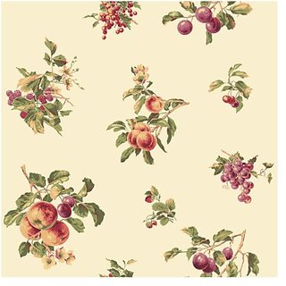 York Wallcoverings Casabella JG0712 Fruit Spot Wallpaper, Cream