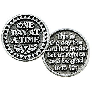 TEN (10) - Pewter POCKET Tokens - ONE DAY AT A TIME - This is the Day the LORD Has Made- INSPIRATIONAL Gifts - KEEPSAKE