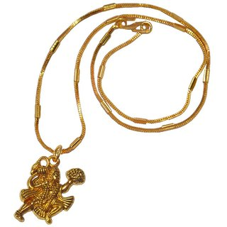Men Style Loard Hanuman  Gold  Alloy Bajiranbali Pendent  For Men And Women