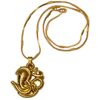 Men Style Loard Shree Ganesh Popular Om Gold  Alloy 00 Pendent  For Men And Women