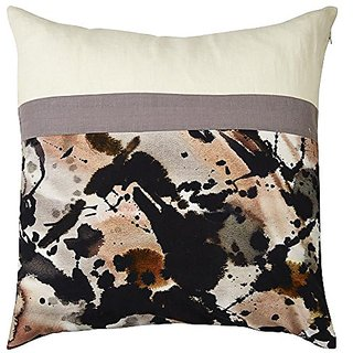 Jaipur Watercolor Ivory/Gray Cotton, Linen & Polyester Down Filled Pillow, 20