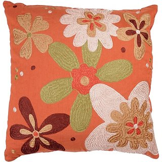 Rizzy Home T-2368 18-Inch by 18-Inch Decorative Pillows, Orange/Green, Set of 2