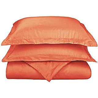 Cotton Blend 800 Thread Count, Soft, Wrinkle Resistant King/California King Duvet Cover Set, Solid, Coral