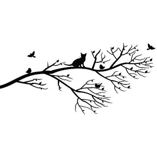 Cat in tree wall decal. Matte black decal with cat on tree with birds 50