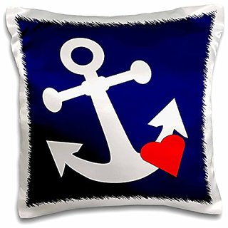 3dRose Print of White Anchor with Heart on Navy-Pillow Case, 16 by 16
