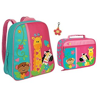 Stephen Joseph Girls Safari Animals Backpack and Lunch Box with Zipper Pull
