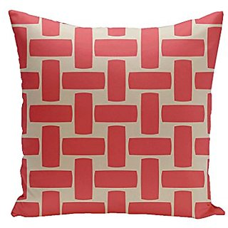 E By Design CPG-N49-Latte_Coral-16 Geometric Cotton Decorative Pillow, 16-Inch, Latte Coral