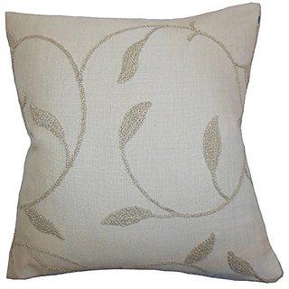 The Pillow Collection P20-M-ALAMO-LINEN Delyth Floral Pillow, Linen, 20
