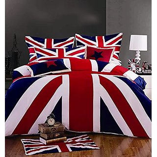 Cliab Union Jack Duvet Cover Set Twin Size 3 Pieces 100% Cotton