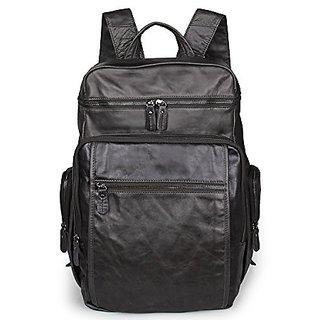AB Earth Excellent Vintage Leather Mens Hiking Backpack Bookbag Travel bag, M21 (Grey)