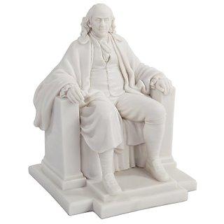 7.5 Inch White Benjamin Franklin Figurine Statue in Chair Knickknack