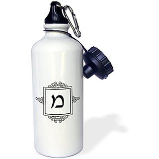 3dRose wb_164926_1 Mem Hebrew Monogram for the block letter M black white ivrit initial Sports Water Bottle, 21 oz, Whit