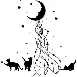 Cat moon wall decal. Matte black decal with cats, stars, and moon. 27