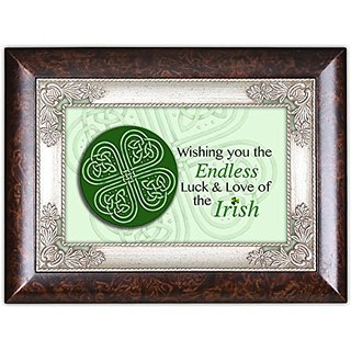 Wishing You Endless Luck Dark Wood Finish Jewelry Music Box Plays Tune When Irish Eyes Are Smiling