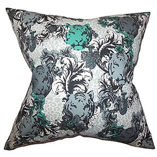 The Pillow Collection Eavan Floral Pillow, Gray