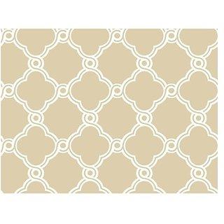York Wallcoverings AP7486 Silhouettes Fretwork Trellis Wallpaper, Beige/White