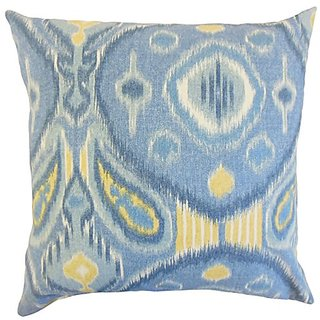The Pillow Collection P20-PT-KIMMEL-OCEAN-L100 Janvier Ikat Pillow, Ocean, 20