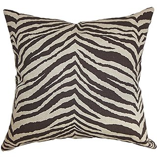 The Pillow Collection Cecania Zebra Print Pillow, Chocolate Linen