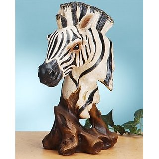12 Inch African Zebra Head and Bust Figurine Statue, Black and White