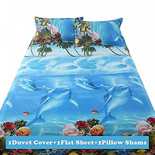 Lt Queen Size 4-pieces 3d Green Coconut Trees Coral Blue Underwater World Dolphins Prints Duvet Cover Sets/bedding Sets