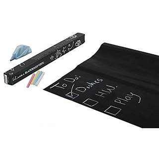 Kassa Wall Sticker Chalkboard Contact Paper (Black) - 5 Colored Chalks and Eraser Cloth Included - Blackboard Measures 1