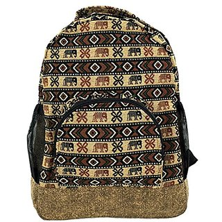 Tribalover Hippie Canvas School Backpack With Aztec Pattern Medium Brown