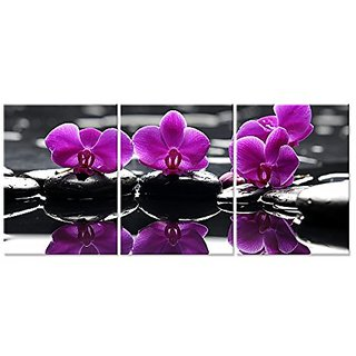 Canvas Wall Art,Zen Stone And Orchid Canvas Prints ,Nice Floral Home Decal Art,Framed And Stretched on Wood Bar,Interior