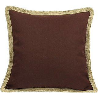 Manor Luxe Square Classic Jute Trimmed Solid Color Decorative Pillow Feather Filled, 20-Inch, Chocolate