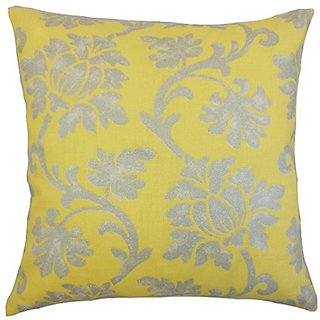 The Pillow Collection Patrice Floral Canary Pillow, 20