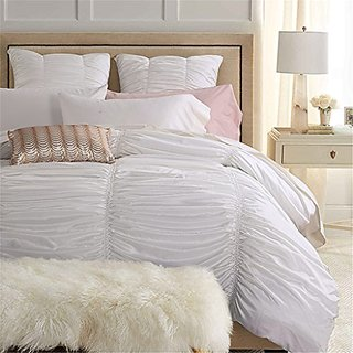 Baroque Luxury Corrugated Lace 4-Piece Bedding Sets Duvet Cover, Flat Sheet, Shams Set,California King,White