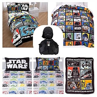 Disney Star Wars Classic Twin Bed in a Bag 6 Piece Set - Reversible Comforter, Sheet Set and Pillowcase, Plush Throw Bla