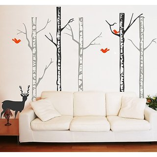 Pop Decors Winter Cool Forest with Deer Wall Decals, Dark Grey/Orange Red
