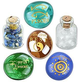 Ancient Zodiac Pisces Yin Yang Powers Birthstones Lapis Lazuli Quartz Magical Glass Stones Bottles Set