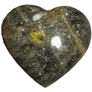 Moonstone Heart Black 52 Silver Sheen Feldspar Crystal Moonlight Mystery Stone 2.3