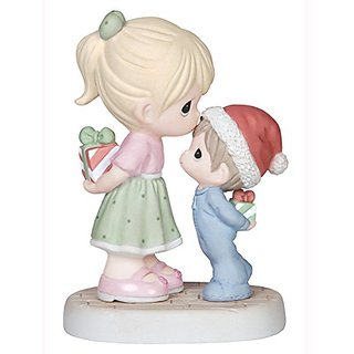 Precious Moments Girl Kissing Boy Figurine - Christmas Gift Home Decoration 141015-PM