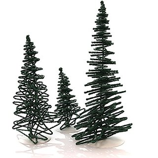 Department 56 Accessory FROSTED ZIG ZAG TREES SET OF 3 Polyresin Snow Village Christmas 52507