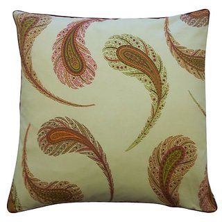 Jiti Peacock Satin Cotton Square Throw Pillow, 20-Inch, Cream