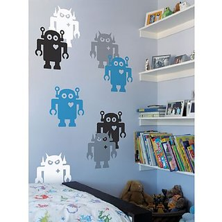 Giant Robots Wall Stickers in Black and White