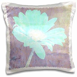 3dRose pc_39247_1 Aqua Blue Gerbera Daisy Floral Art- Nature- Flowers - pillow Case, 16 by 16