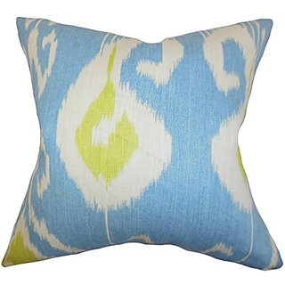 The Pillow Collection P20-PT-BANSURI-CAPRI-L100 Cleon Ikat Pillow, Blue, 20