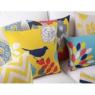 Elleweideco Quilting Weight Linen Bird and Flower Yellow Print Throw Pillow Cover (Q12 Black Bird Yellow back)