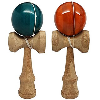 2 PACK - The Best Kendama For All Kinds Of Fun (full size) - Awesome Colors: Blue/Bamboo Orange/Bamboo Set - Solid Bambo