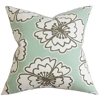 The Pillow Collection Ceylon Geometric Pillow, Aqua Gold