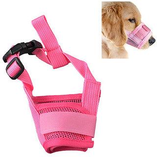 Futaba Dog Adjustable Anti Bark Mesh Soft Mouth Muzzle -Pink - XL